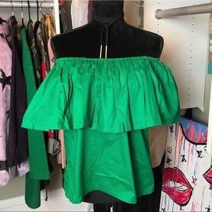 Tops - 💚 Emerald Green Ruffled Off The Shoulder Top 💚